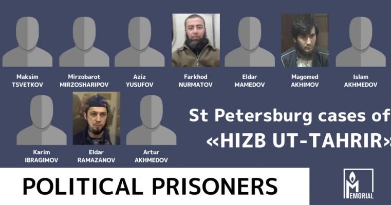 Ten Muslims convicted of involvement in Hizb ut-Tahrir in St. Petersburg are political prisoners, Memorial says