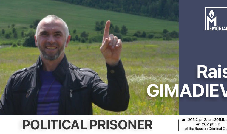 Rais Gimadiev, a resident of Tatarstan sentenced to 16 years in prison on terrorism charges, is a political prisoner
